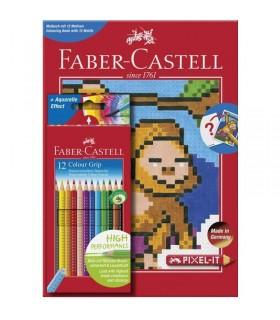 Creioane colorate 12 culori GRIP + carte colorat PIXEL FABER-CASTELL