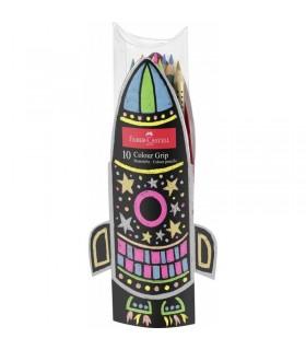 Set cadou racheta 10 creioane colorate Grip neon si metalizate FABER-CASTELL
