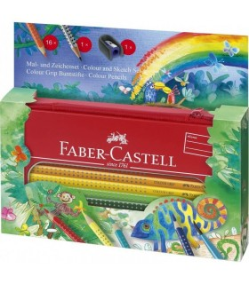 Set cadou desen si pictura grip 16 culori/set JUNGLE FABER-CASTELL