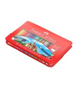 Creioane colorate 48 culori si 4 accesorii in cutie metal FABER-CASTELL