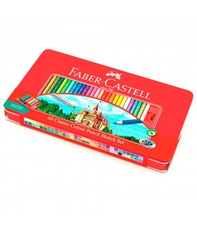 Creioane colorate 60 culori si 4 accesorii in cutie metal FABER-CASTELL