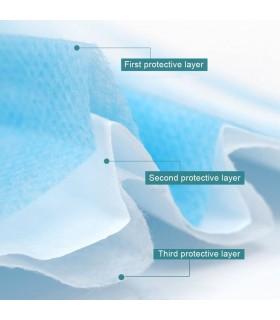 Masca de protectie, unica folosinta, 3 straturi, alb/albastra, 50 buc/set, BFE - 99.1