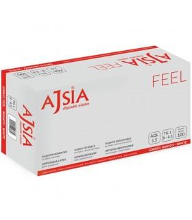 Manusi latex unica folosinta, usor pudrate 100 buc/cutie, albe AJSIA Feel