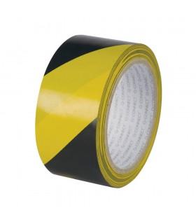 Banda adeziva 48mm x 20m pentru avertizare - negru/galben, Q-CONNECT