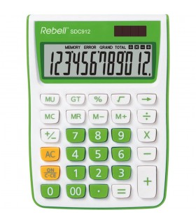 Calculator de birou 12 digits 145 x 104 x 26 mm SDC 912 alb/verde REBELL
