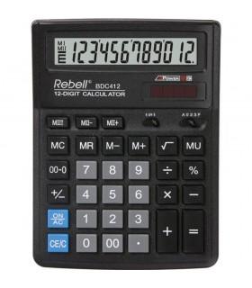 Calculator de birou 12 digits 193 x 143 x 38 mm BDC 412 - negru REBELL