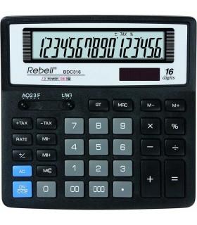 Calculator de birou 16 digits 156 x 156 x 30 mm BDC 316 BX - negru REBELL