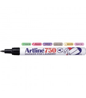 Marker pentru textile, corp metalic, varf rotund 0.7mm, negru 750 ARTLINE
