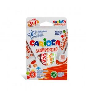 Set 6 markere lavabile cu 6 stampile Stamperello CARIOCA