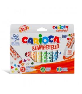 Set 12 markere lavabile cu 12 stampile Stamperello CARIOCA