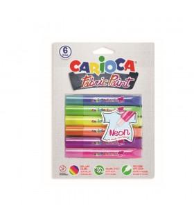 Vopsea pentru textile rezistanta la spalare 6 culori/blister Fabric Paint - Neon CARIOCA