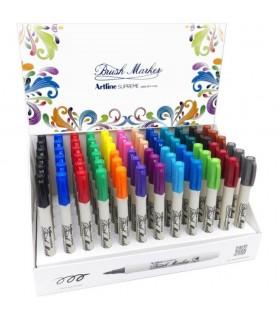 Display markere pentru colorat cu varf tip pensula, 72 buc/display Supreme ARTLINE