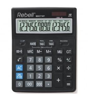 Calculator de birou 16 digits 206 x 155 x 35 mm dual power BDC 716T - negru REBELL