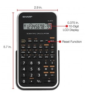 Calculator stiintific 10 digits 131 functiuni 144 x 75 x 10 mm EL-501XBWH - negru/alb SHARP