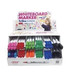 Display markere Supreme pentru tabla de scris, 1.5mm, 4culx12buc, 3culx6 buc, 2 culx3 buc/display ARTLINE