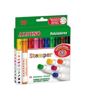 Set 10 stampile, diverse forme, cutie carton, Fantasy ALPINO