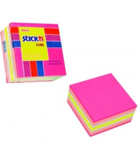 Cub notes adeziv 51 x 51 mm 250 file culori asortate STICK'N