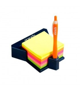 Cub notes adeziv cu suport 76 x 76 mm 400 file culori asortate STICK'N