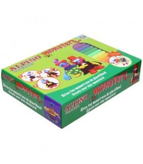 Kit plastilina 12 culori + 4 seturi accesorii, Monsters ALPINO