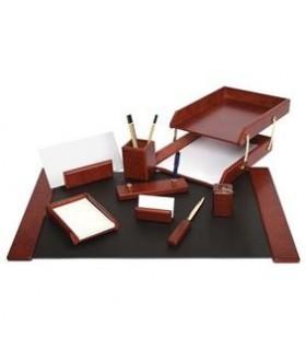 Set de birou din lemn visiniu 9 piese FORPUS