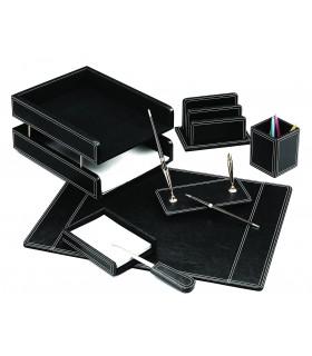 Set de birou din piele ecologica negru 7 piese FORPUS
