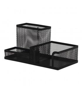 Organizer metalic Mesh de birou 3 compartimente - negru Q-Connect