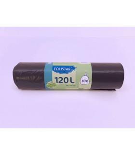 Saci menajeri Eco 100% reciclabili 120 L negri 10 bucati/rola FOLISTAR