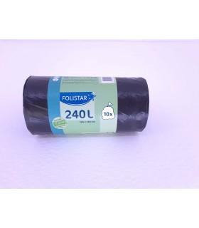 Saci menajeri Eco 100% reciclabili 240 L negri 10 bucati/rola FOLISTAR