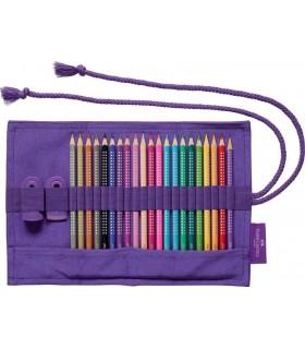 Rollup textil 20 creioane colorate Sparkle si accesorii FABER-CASTELL