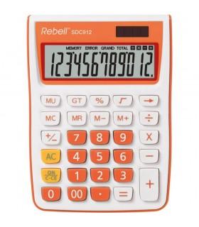 Calculator de birou 12 digits 145 x 104 x 26 mm SDC 912 alb/orange REBELL