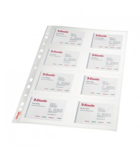 Folie protectie pentru carti de vizita, A4, cristal, 105 microni, 10 buc/set, ESSELTE
