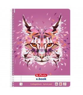 Caiet A4 cu spirala 80 file motiv Wild Animals Lynx HERLITZ