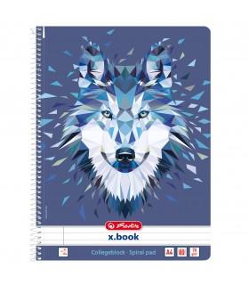 Caiet A4 cu spirala 80 file motiv Wild Animals Wolf HERLITZ