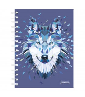 Caiet A5 cu spirala 100 file matematica motiv Wild Animals Wolf HERLITZ