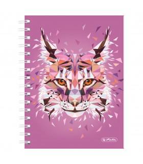 Caiet A5 cu spirala 100 file matematica motiv Wild Animals Lynx HERLITZ