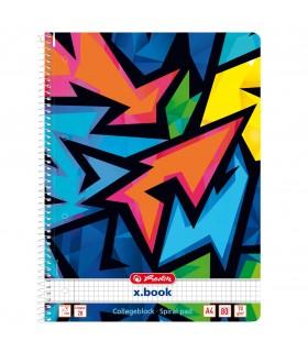 Caiet cu spirala 80 file motiv Neon Art HERLITZ