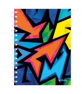 Caiet A5 cu spirala 100 file matematica motiv Neon Art HERLITZ