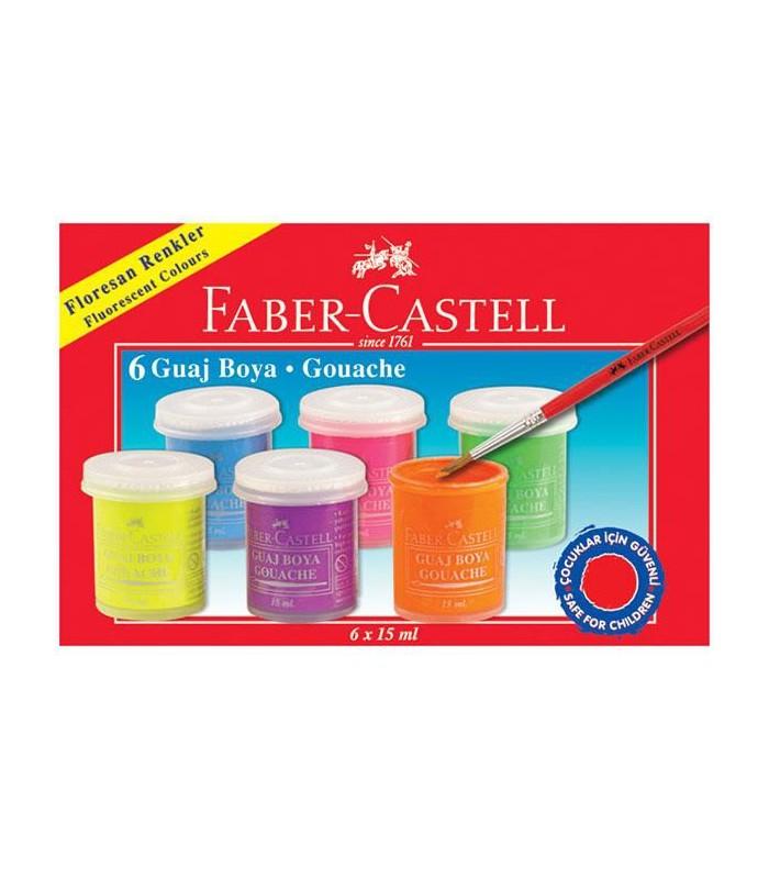 Acuarele guase 6 culori 15 ml fluorescente FABER-CASTELL