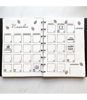 Agenda Notebook Impressions cu spirala si rezerve A5 Black&White FILOFAX