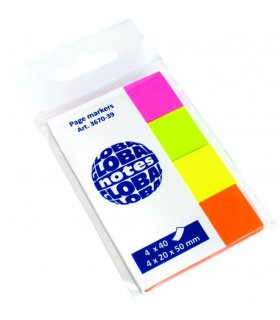 Notes index hartie 20 x 50 mm, 4 culori neon x 40 file, GLOBAL