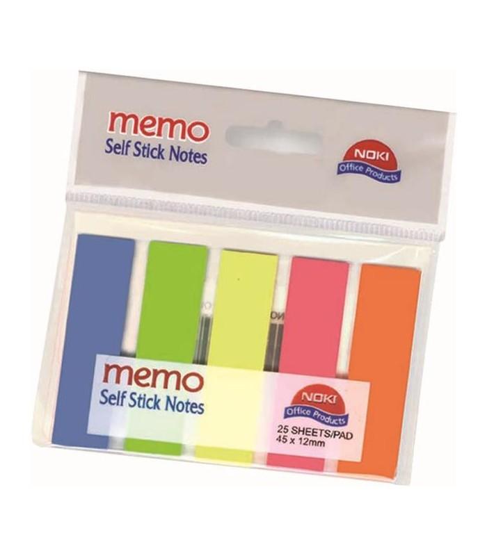 Notes index plastic 12 x 45 mm, 5 culori x  25 file NOKI