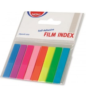 Notes index plastic 12 x 45 mm, 8 culori x  20 file NOKI