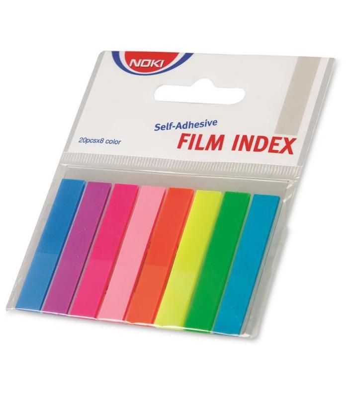 Notes index plastic 12 x 45 mm, 8 culori x  20 file NOKI