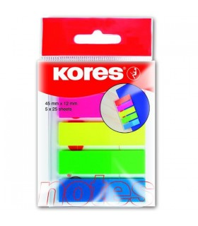 Notes index plastic 12 x 45 mm, 5 culori x 25 file KORES