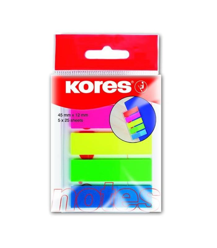 Notes index plastic 12 x 45 mm, 5 culori x 25 file KORES