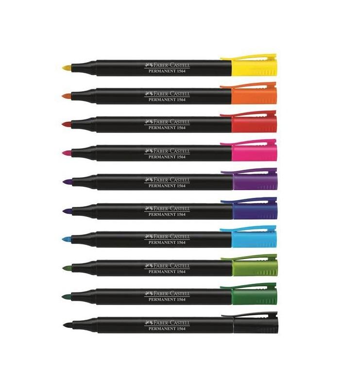 Marker permanent diverse culori Slim 1564, varf rotund 1.2 mm FABER - CASTELL
