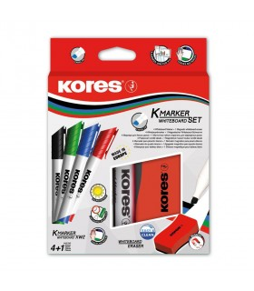 Marker whiteboard set 4 culori, varf 3.0 mm cu burete margnetic KORES