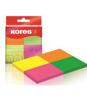 Notes adeziv hartie 40 x 50 mm, 4 culori neon x 50 file KORES