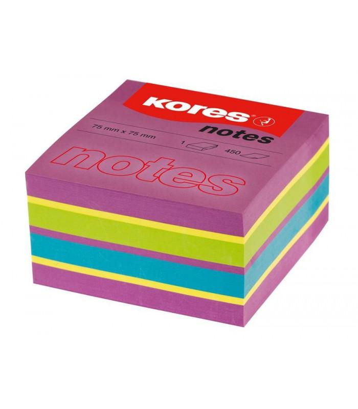 Notes adeziv 75 x 75 mm, 450 file, culori neon mixt Spring KORES