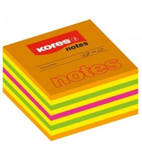 Notes adeziv 75 x 75 mm, 450 file, culori neon mixt KORES
